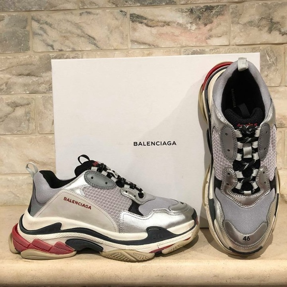 449b50af67bc Balenciaga Triple S Sneaker Silver Grey Red Speed